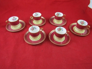 Aynsley demi tasse 6 with saucers