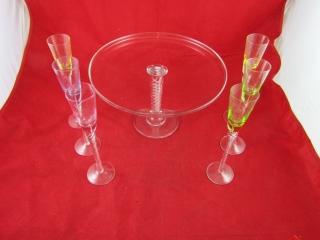 Art Glass Pedestal cake plate and 6 liquor