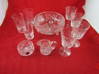 Pinwheel crystal: footed  bowl, cream and sugar