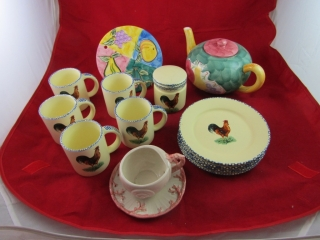 Fitz & Floyd cup and saucer, Rooster pattern