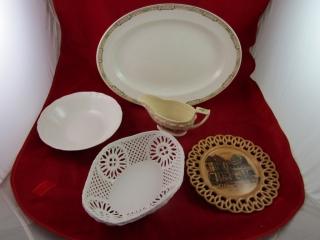 Porcelain lot: platter, cutwork basket, sauce boat