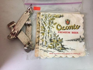 Hamms bottle openers, Oconto beer napkins