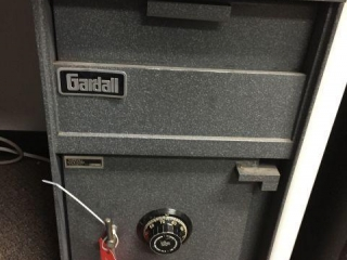 "Gardall safe with combination. 15""x13""x25"""