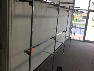 Racking attached to wall. 20' x7' x 33""