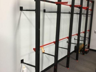 "Racking attached to wall 13'x93""x26"""