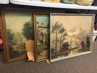 """3 framed decorator pictures. 31""""x25"""""""