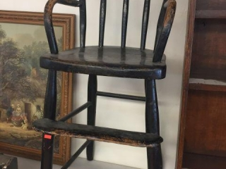 Black wood chair.