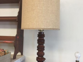 "Wood lamp with shade. 37"" tall"