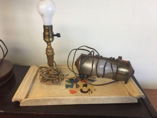 Wood tray & assorted lamps