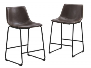 FAUX LEATHER COUNTER STOOLS (2 IN TOTAL;