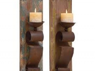 WOODLAND 2-PIECE WALL CANDLE HOLDER SET