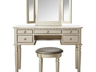 POUNDEX VANITY SET W/ STOOL *NOT ASSEMBLED*