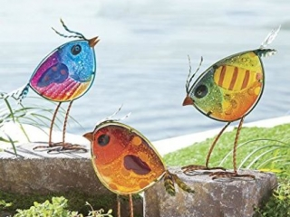 GLASS BIRDS GARDEN STATUE
