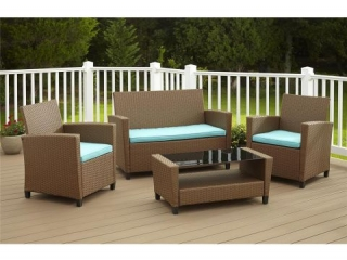 4PC PATIO CONVERSATION SET(CUSHION ACTUAL