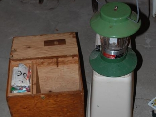 OFF SITE -  Wood Box Case/Coleman Lantern with Propane Tanks UNRESERVED