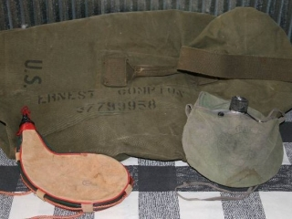 Military Bag, Water Skin, and Canteen