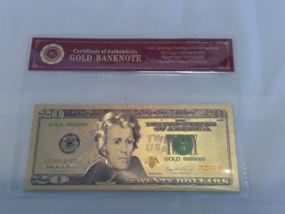 24k Gold Foil Usa $20 Bill