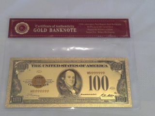 24k Gold Foil Usa $100 Bill