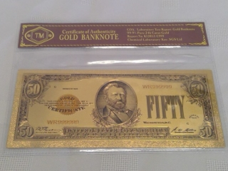 24k Gold Foil Usa $50 Bill