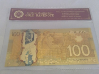 24k Gold Foil Canadian $100 Bill