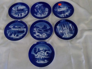 7 Hand Painted Royal Copenhagen Plates