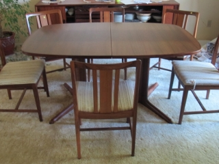 Mid Century Teak Dining Table 2 Leaves 6 Chairs