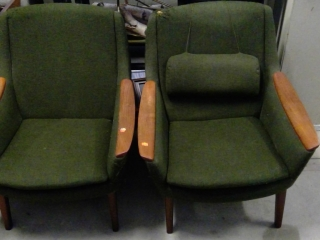 Two Mid Century Teak Chairs. Fabric Damaged