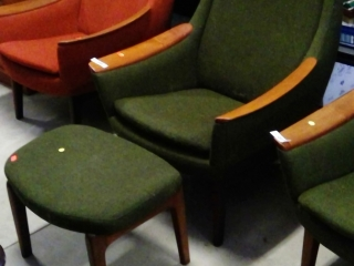 Mid Century Teak Chair With Matching Footstool