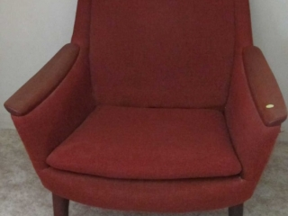 Mid Century Teak  Armchair Fabric Shows Some Wear