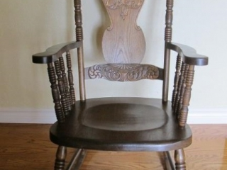 Triple Press Back Wood Rocking Chair