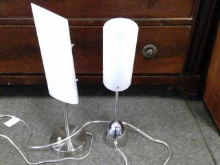 2 Chrome Desk Table  Lamps