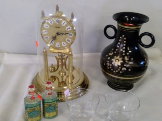 Grouping Kundo Glass Dome Clock, Vase, Glasses Etc