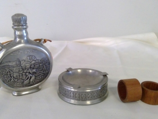 Pewter Flask , Ash Tray,, Coasters & Teak Napkin