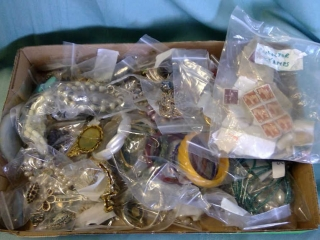 Box Lot Of Costume Jewelry / Stamps