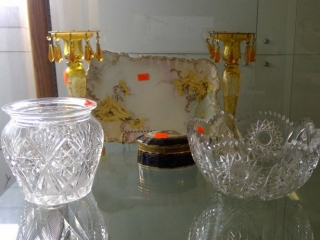 Grouping Platter 2 Candle Sticks Crystal Jar