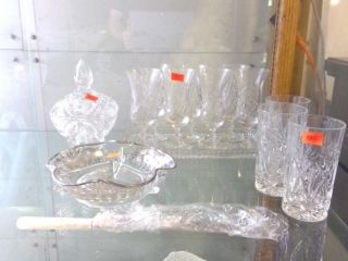 Crystal Stemware, Tray, Tumblers, Candy Dish Etc