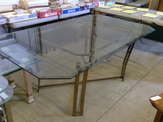 "Rectangle Beveled Glass Dining Table 72""x42""x30""t"
