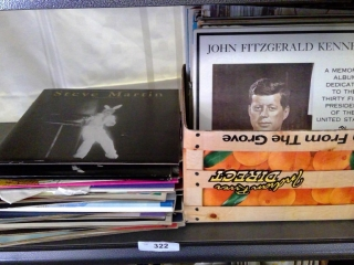Shelf Of Assorted Vinyl Records