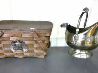 Coal Pail And Wicker Basket Eagle On Front Basket
