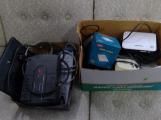 Box Lot Of Computer Parts, Chargers Apc Backup,