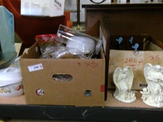 Box Lot Of Dishes, Angel Statues,