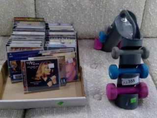 Lot Of Cd's And Exercise Weights