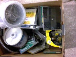 Box Lot Of Blank Cds, Lights, Etc