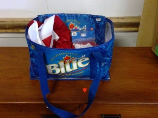 Blue Light Bag And 2 Canadian Flags