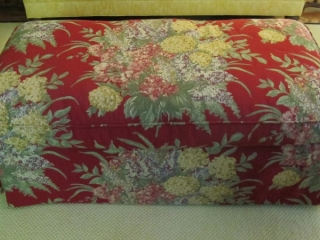 """Large Floral Upholstered Ottoman 50"""" X 25"""" X 20"""" T"""