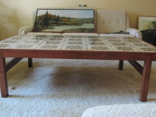 "Teak Tile Inlaid Coffee Table 48""x33""x17""tall"