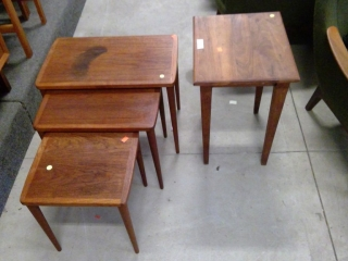 Set 3 Teak Nesting Tables Plus Occasional Table