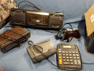 Mixed Lot Of Office Supplies, Alarm Clocks,
