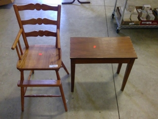 High Chair And Wood Bench