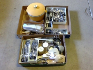3 Box Lots Of Flatware Ice Bucket And Telephone